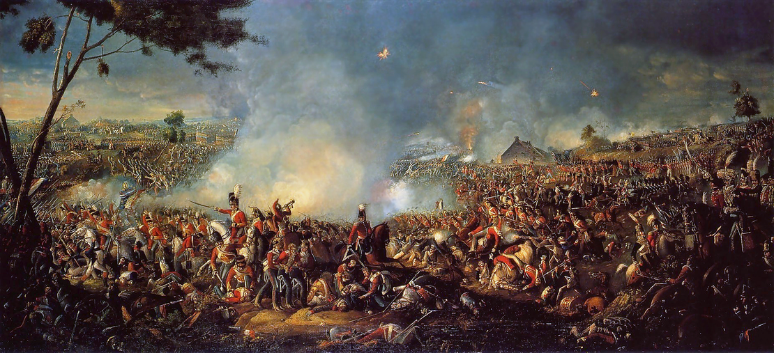 """معركة واترلو، بريشة """"وليام سادلر"""" (1782–1839)."""