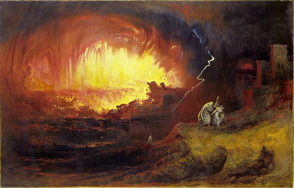 لوحة خسف سدوم وعمورة بريشة جون مارتن